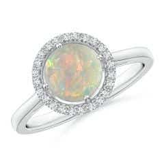 Floating Round Opal Ring with Diamond Halo
