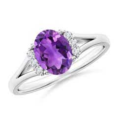 Oval Amethyst with Round Diamond Collar Solitaire Ring
