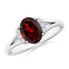 Oval Garnet with Round Diamond Collar Solitaire Ring