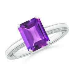 Emerald Cut Amethyst Solitaire Ring with Milgrain