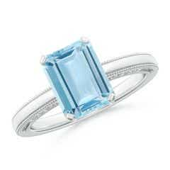 Emerald-Cut Aquamarine Solitaire Ring with Milgrain