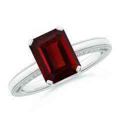 Emerald Cut Garnet Solitaire Ring with Milgrain