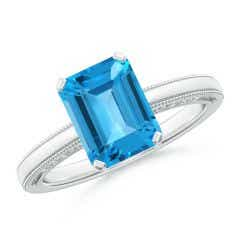 Emerald Cut Swiss Blue Topaz Solitaire Ring with Milgrain