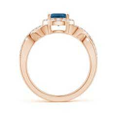Toggle Oval London Blue Topaz Crossover Ring with Diamond Halo