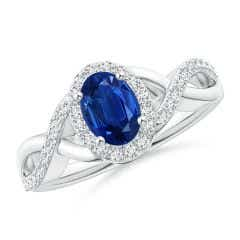 Oval Blue Sapphire Crossover Ring with Diamond Halo