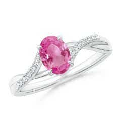 Oval Pink Sapphire Split Shank Ring with Diamond Accents