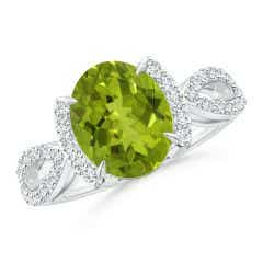 GIA Certified Peridot Split Shank Ring with Diamond Half Halo