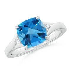 Split Shank Cushion Swiss Blue Topaz Solitaire Ring