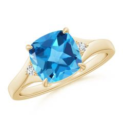 Split Shank Cushion Swiss Blue Topaz Solitaire Ring