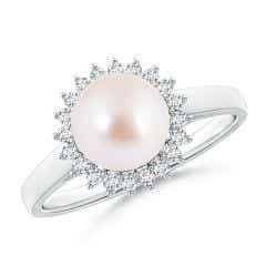 Akoya Cultured Pearl Ring with Floral Halo