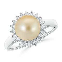 Golden South Sea Cultured Pearl Ring with Floral Halo