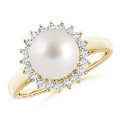 South Sea Cultured Pearl Ring with Floral Halo