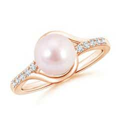 Solitaire Akoya Cultured Pearl Bypass Ring with Diamonds
