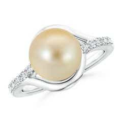 Solitaire Golden South Sea Cultured Pearl Bypass Ring with Diamonds