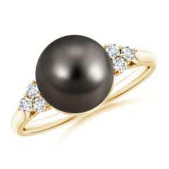 Tahitian Cultured Pearl Ring with Trio Diamonds