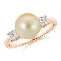 Golden South Sea Cultured Pearl Ring with Cluster Diamonds