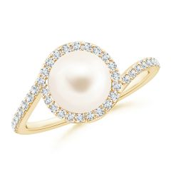 Freshwater Cultured Pearl Bypass Ring with Diamond Halo