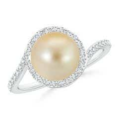 Golden South Sea Cultured Pearl Bypass Ring with Diamond Halo