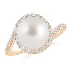 South Sea Cultured Pearl Bypass Ring with Diamond Halo