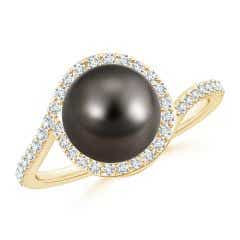 Tahitian Cultured Pearl Bypass Ring with Diamond Halo
