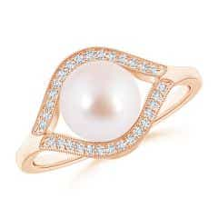 Akoya Cultured Pearl Halo Split Shank Ring