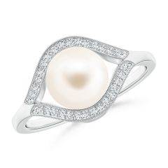 Freshwater Cultured Pearl Halo Split Shank Ring