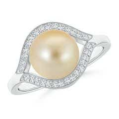 Golden South Sea Cultured Pearl Halo Split Shank Ring