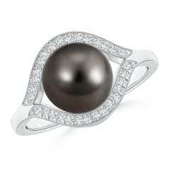 Tahitian Cultured Pearl Halo Split Shank Ring