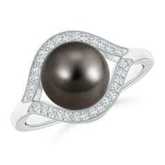 Tahitian Cultured Pearl Halo Split Shank Ring