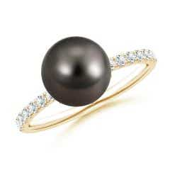 Classic Tahitian Cultured Pearl & Diamond Solitaire Ring