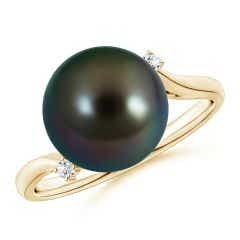 Tahitian Cultured Pearl and Diamond Bypass Ring