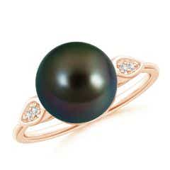 Tahitian Cultured Pearl Ring with Diamond Pear Motifs