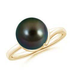 Tahitian Cultured Pearl Ring with Spiral Metal Loop