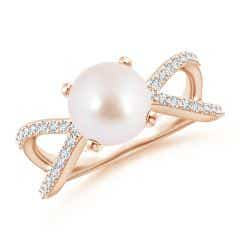 Akoya Cultured Pearl and Diamond Split Shank Ring