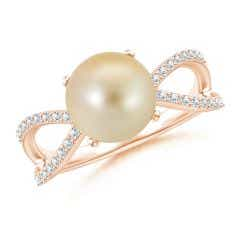 Golden South Sea Cultured Pearl and Diamond Split Shank Ring