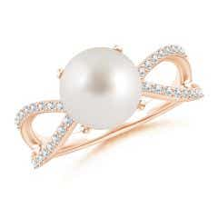 South Sea Cultured Pearl and Diamond Split Shank Ring