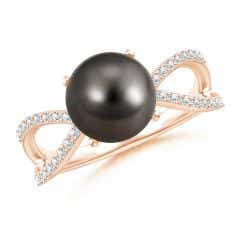 Tahitian Cultured Pearl and Diamond Split Shank Ring