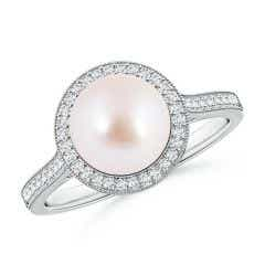 Akoya Cultured Pearl Halo Ring with Milgrain