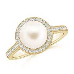 Freshwater Cultured Pearl Halo Ring with Milgrain