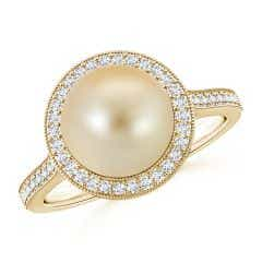 Golden South Sea Cultured Pearl Halo Ring with Milgrain