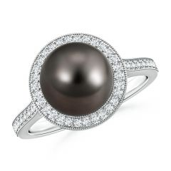 Tahitian Cultured Pearl Halo Ring with Milgrain