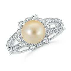Golden South Sea Cultured Pearl and Diamond Ring with Floral Halo