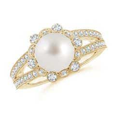 South Sea Cultured Pearl and Diamond Ring with Floral Halo