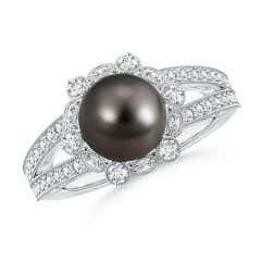 Tahitian Cultured Pearl and Diamond Ring with Floral Halo