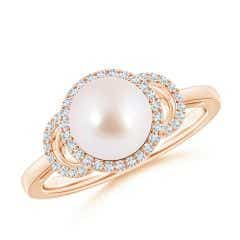 Akoya Cultured Pearl Halo Ring with Diamonds