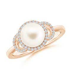 Freshwater Cultured Pearl Halo Ring with Diamonds