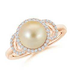 Golden South Sea Cultured Pearl Halo Ring with Diamonds