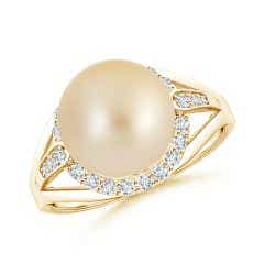 Golden South Sea Cultured Pearl Ring with Diamond Halo