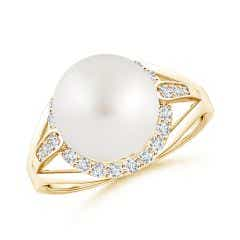 South Sea Cultured Pearl Ring with Diamond Halo