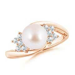Akoya Cultured Pearl Floral Ring with Diamonds